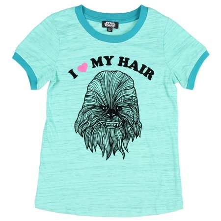 Star wars little girls I love my hair chewbacca blue shirt