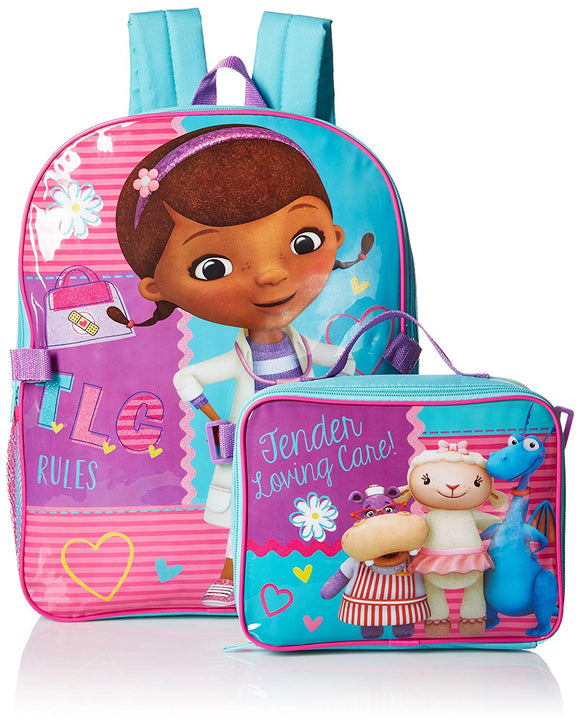 Doc McStuffins Tender Care Backpack & Lunch Bag Travel School Back Pack Set