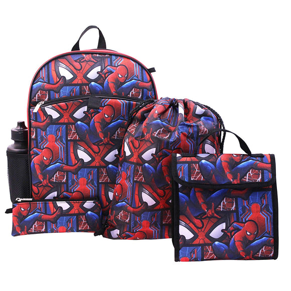 Marvel Boys' Spiderman 5-Pc Set Backpack Lunch Box Drawstring bag Zip pouch and Water Bottle