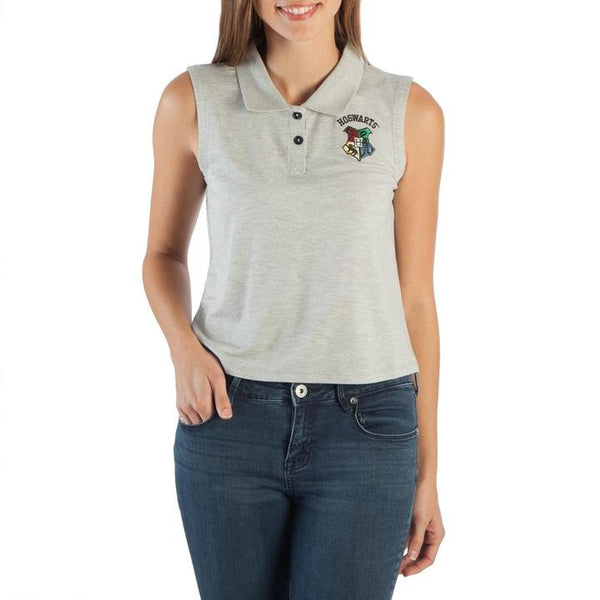 Womens Juniors Grey Harry Potter button Hogwarts Sleeveless Polo Shirt