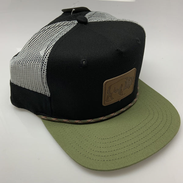 Black Green Trucker Mesh George Bison Patch Hat Snapback