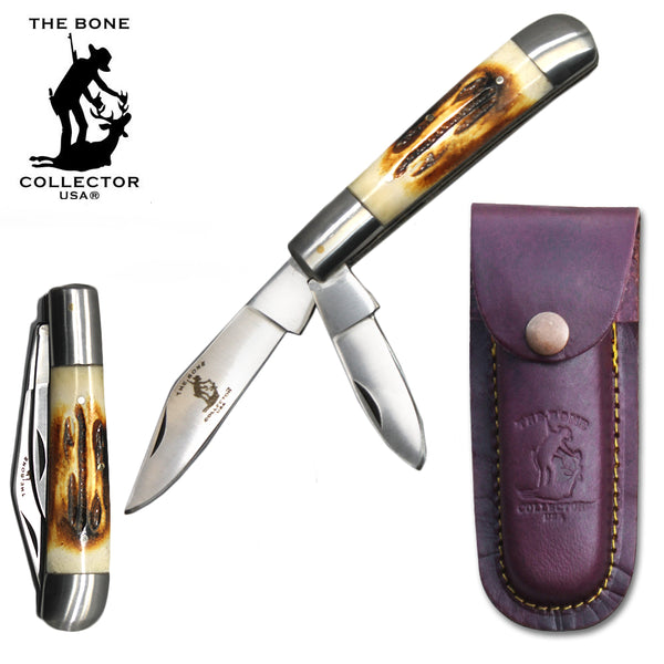 "BC 870-BN 5"" Bone Collector 2 Blade Bone Handle Folding Knife with Leather Sheath"