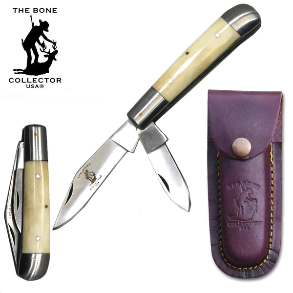 "BC 870-WBN 5"" White Bone Collector 2 Blade Bone Handle Folding Knife with Leather Sheath"