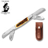 "BC 820 5"" Bone Collector 4-Blade Folding Knife with Leather Sheath"