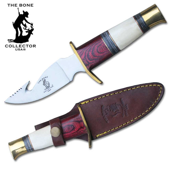 "BC 797 9.25"" Bone Collector Split Handle Hunting Knife with Gut-Hook"