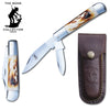 "BC 818 5"" Bone Collector 2 Blade Bone Handle Folding Knife with Leather Knife"