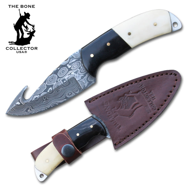 BC 821-DB Bone Handle Hunting Knife with Gut Hook and Damascus Blade