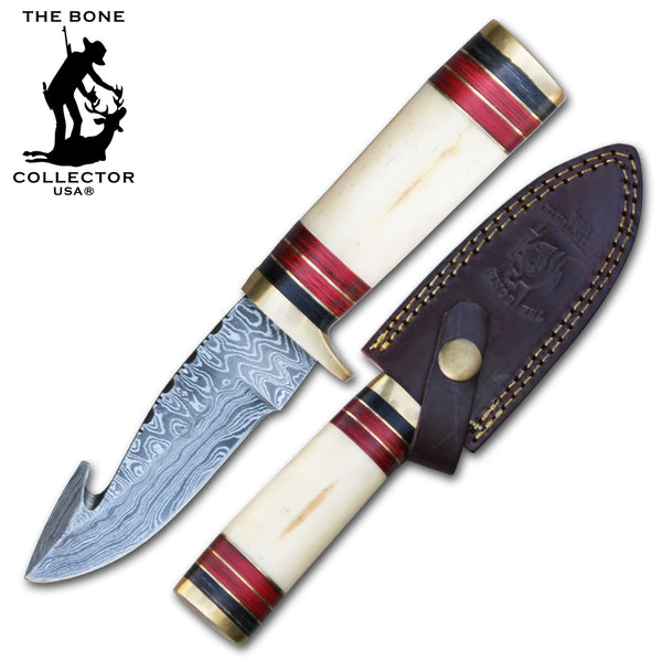 BC 823-DB Damascus Blade Hunting Knife with Gut Hook and Leather Sheath