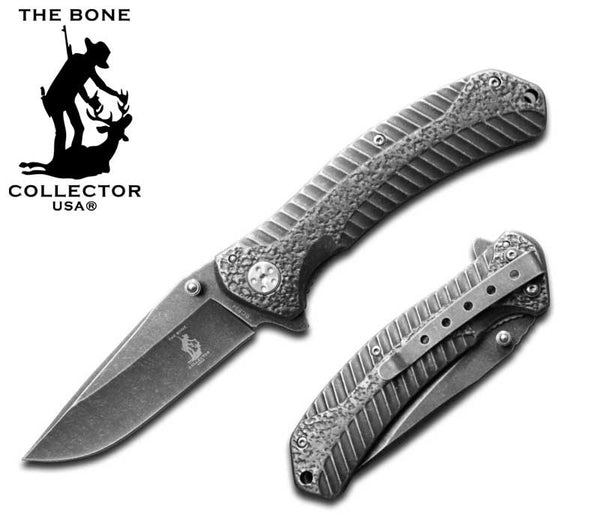 BC 834 Stone Finish Metal Handle Folding Knife