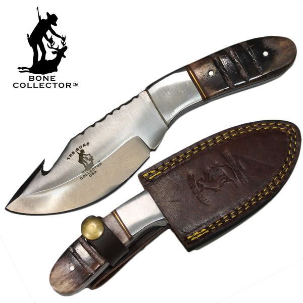 "BC 850 7.25"" Bone Collector Gut-Hook Skinner Knife with Leather Sheath"