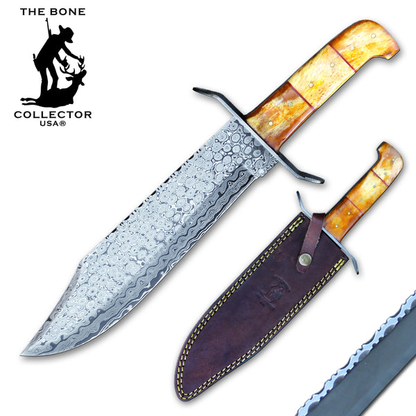 "BC 858-YBNDB 15"" Bone Collector Damascus Bowie Knife Yellow Bone Handle with Leather Sheath"