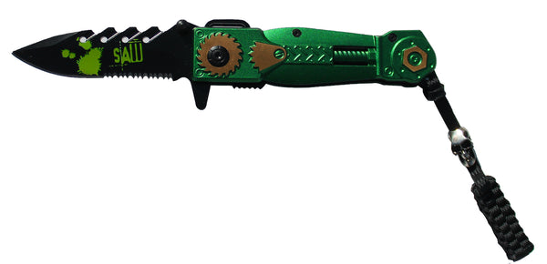 BF 017242-GY Green Handle Folding Knife