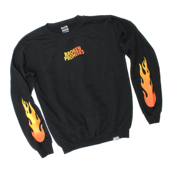Mens Fire Logo Broken Promises Black Sweater Sweatshirt
