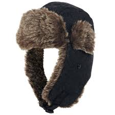 Mens Wool Cold Weather Faux Fur Trapper Hat