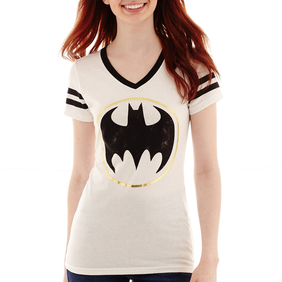 Womens Juniors White Batman Varsity Stripe V-Neck Tee T-Shirt