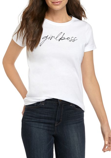 Women's Girl Boss Cursive Graphic T-Shirt Tee