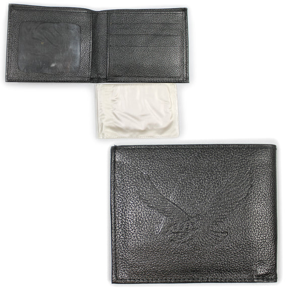 Black Leather Eagle Wallet with Removable Picture Holder