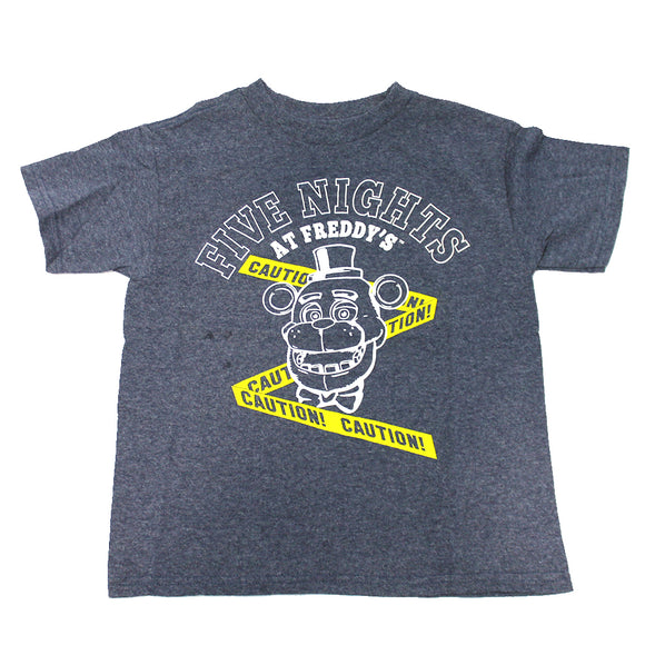 Boys Blue Heather Five Nights at Freddy's Caution Graphic Tee T-Shirt