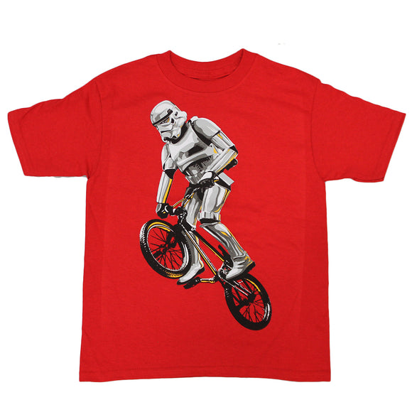 Boys Toddlers Red Stormtrooper Star Wars BMX Graphic Tee T-Shirt
