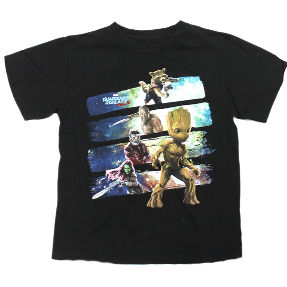 Boys Youth Black Guardians of the Galaxy Vol 2 Hero Lineup Baby Groot Graphic Tee T Shirt