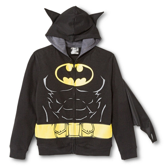 Boys Youth Black Batman DC Comics Hoodie Cape