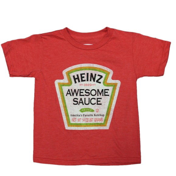 Boys Youth Red Heather Heinz Awesome Sauce Faded Graphic Tee T Shirt