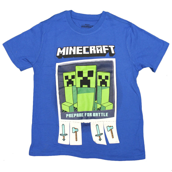 Boys Toddler Navy Minecraft Prepare to Battle Creeper Video Game Tee T Shirt