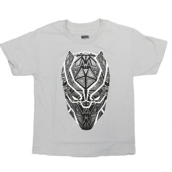 Boys Youth Grey Black Panther Mask Geometric Tee T Shirt