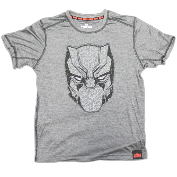 Boys Youth Grey Heather Polyester Black Panther Hero Elite Series Tee T Shirt