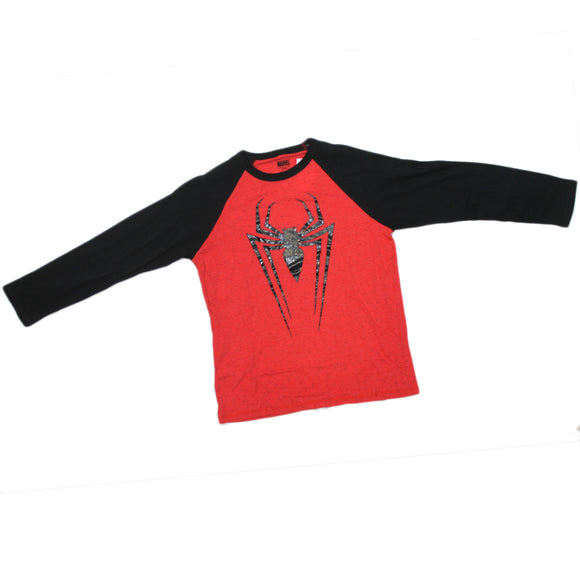 Boys Youth Red Heather Black Spider-Man Symbol Textured Print Long Sleeve Tee T Shirt