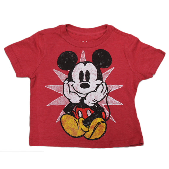 Boys Toddler Red Heather Faded Mickey Mouse Star Disney Tee T-Shirt