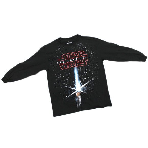 Boys Youth Black Star Wars The Last Jedi Movie Lightsaber Long Sleeve Tee T Shirt Glow In The Dark