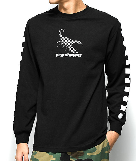 Men's Black Broken Promises Checkered Scorpion Black Long Sleeve T-Shirt Tee