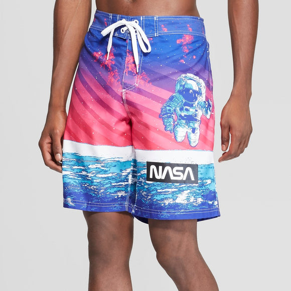 Men's Pink & Blue Buzz Aldrin NASA Board Shorts