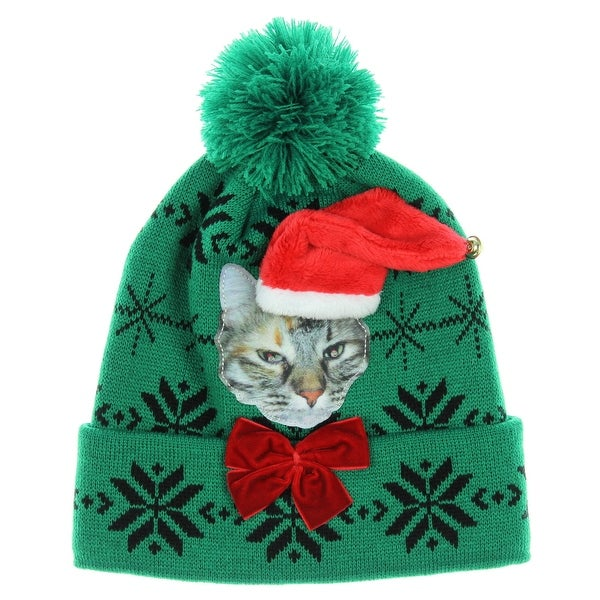 Adult Cat Christmas Hat Holiday Beanie