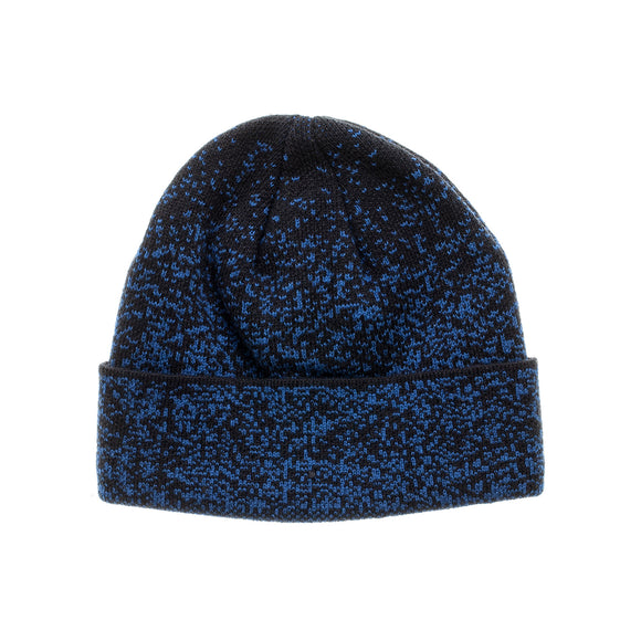 Black Blue Space Dye Fleece Lined Cuff Beanie Winter Cap