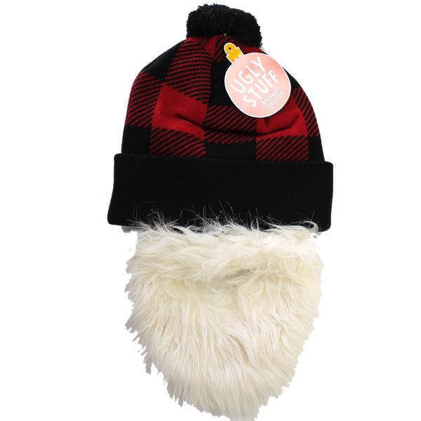 Adult Ugly Stuff Holiday Santa Beard & Beanie Winter Hat