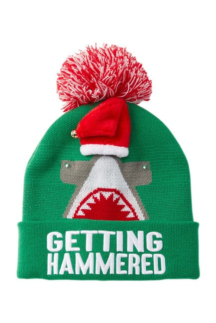 Adult Getting Hammered Light Up Christmas Hat Holiday Beanie