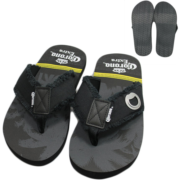 Corona Extra Black Palm Tree Sandals with Bottle Opener