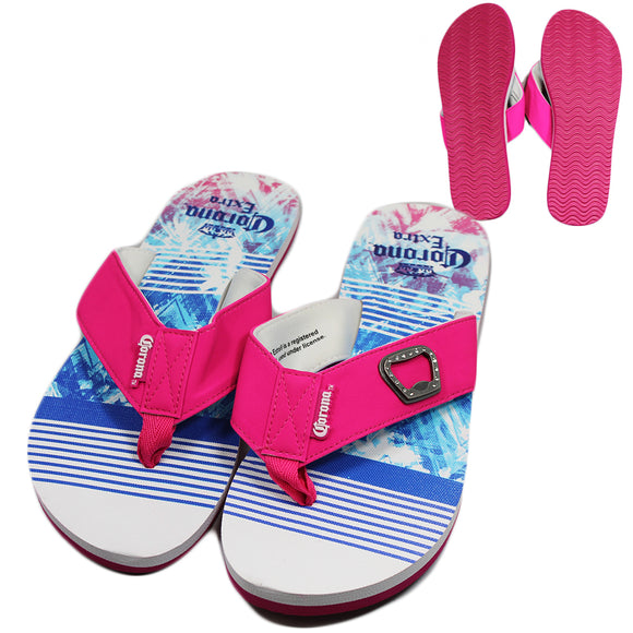 Corona Extra Pink Blue Tie Dye Stripe Sandals with Bottle Opener