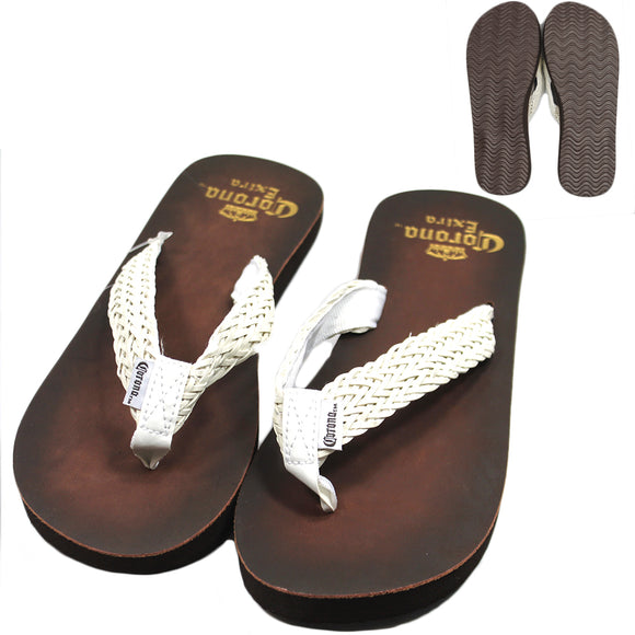 Corona Extra Brown White Woven Thong Sandals