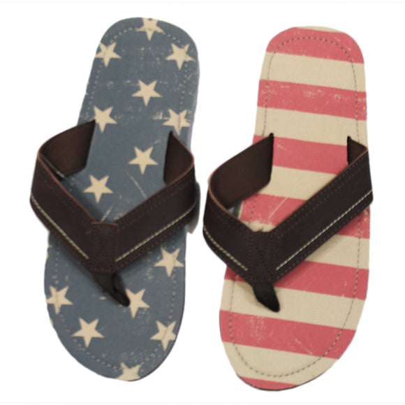 Faded American Flag USA Stars & Stripes Sandals