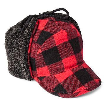 American Rag Red Faux-Fur Flannel-Print Trapper Hat