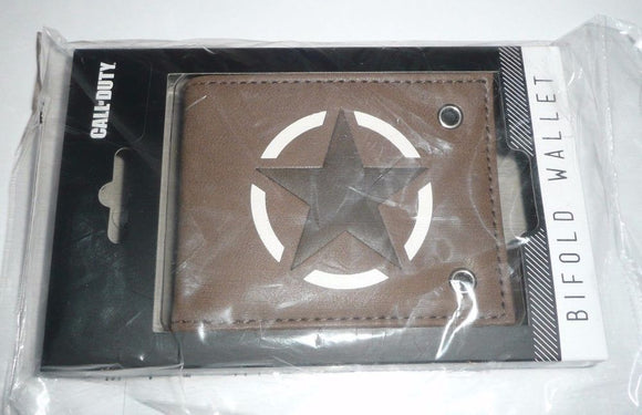 Brown Star Call of Duty WWII Bi Fold Wallet Military Star