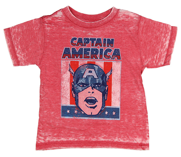 Youth Boys Marvel Comics Captain America Burnout Red Tee T Shirt
