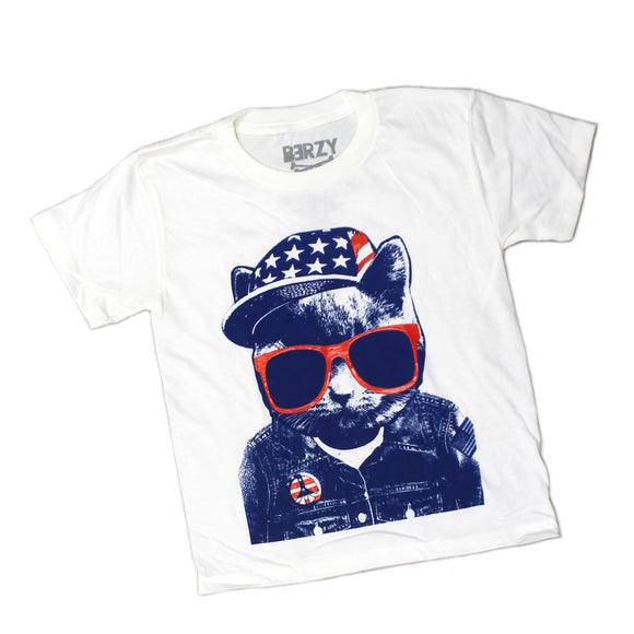 Youth Berzy Boys Cat Peace Hat USA 4th of July Pride White Tee T Shirt