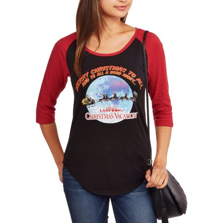 Womens Juniors National Lampoon's Christmas Vacation Baseball Raglan Tee