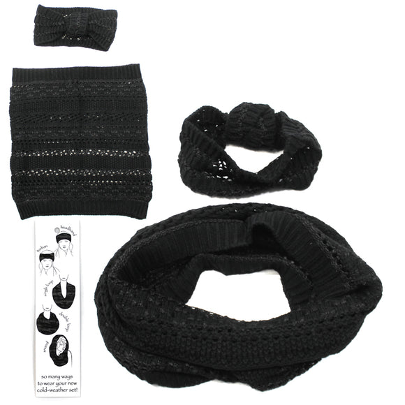 Womens Copper Key Cold Weather Winter Set Scarf Headband Band Black