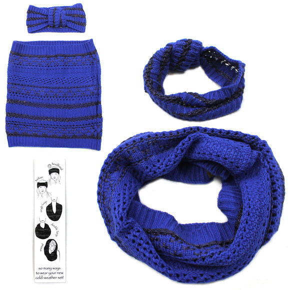 Womens Copper Key Cold Weather Winter Set Scarf Headband Band Blue Black