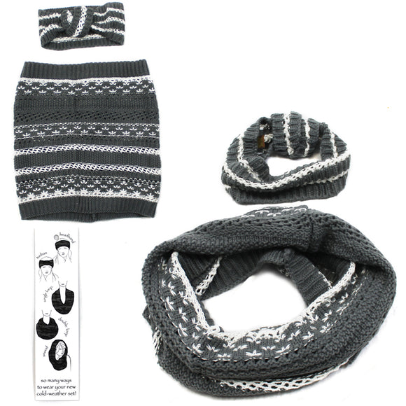 Womens Copper Key Cold Weather Winter Set Scarf Headband Band Grey White